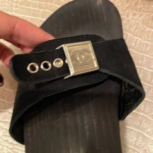 Vintage Chanel black suede clogs